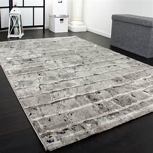 Teppich Wohnzimmer Grau : edler designer teppich mit steinwand optik in grau schwarz meliert alle teppiche ~ Markanthonyermac.com Haus und Dekorationen