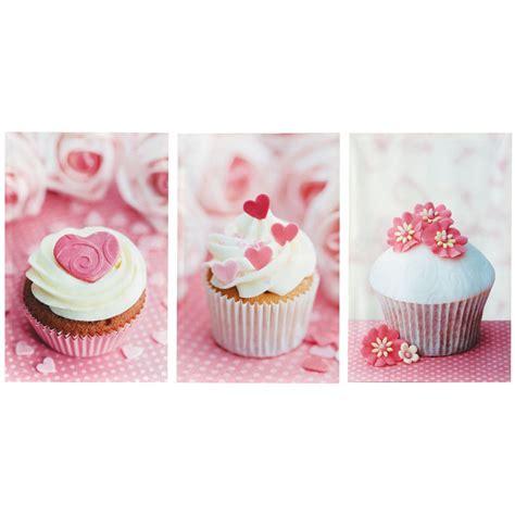 set of 3 pink cupcakes canvas prints maisons du monde