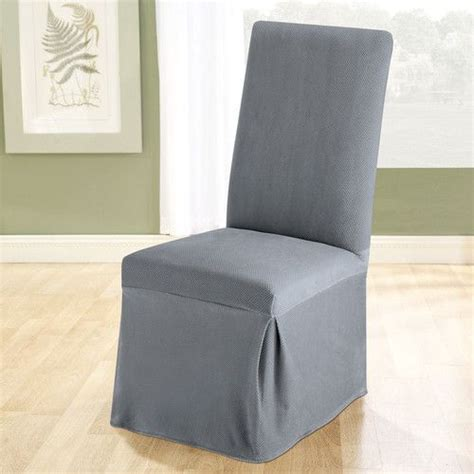 stretch pique dining chair slipcover living dining room in silver grey blue and green