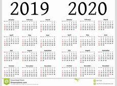Calendário Para 2019 E 2020 Ilustração do Vetor Imagem