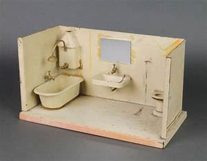 A pressed metal model dolls house insert of a bathroom ...