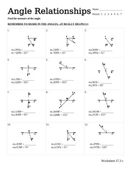 Angle Relationships Worksheet By Stone  Teachers Pay Teachers