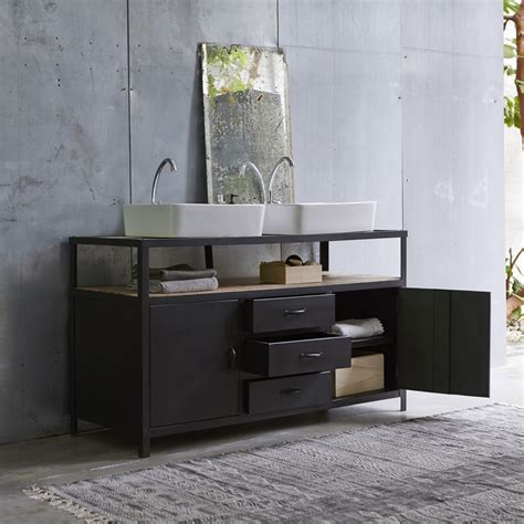 meuble sous vasque en mtal noir et manguier pour salle de bain tikamoon