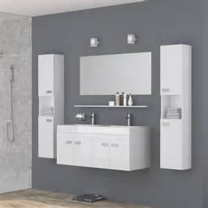alpos salle de bain compl 232 te vasque 120 cm laqu 233 blanc brillant achat vente salle