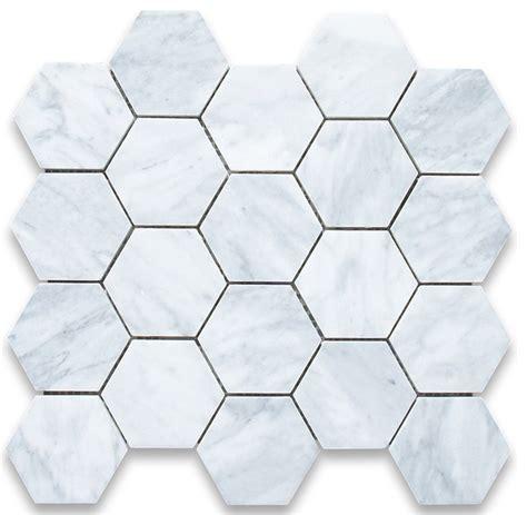 carrara marble hexagon mosaic tile 3 inch honed