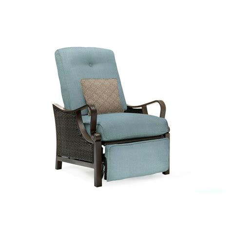 hanover ventura all weather wicker reclining patio lounge chair with blue cushion