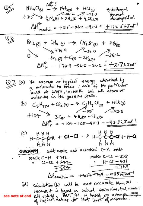 A Level Gce Worked Examples Of Enthalpy Calculations Answers Ks5 As A2 Revision Notes