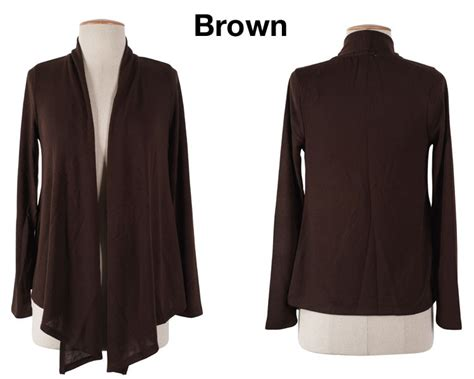 Shop Trendy Solid Plain Long Sleeve Open Front Draped Knit Shawl Cardigan Irregular Hem