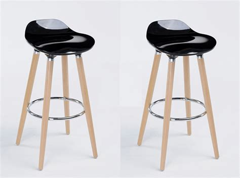 lot de 2 tabourets de bar firel noir