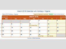 Print Friendly March 2018 Nigeria Calendar for printing