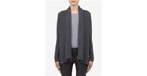 Vince Wool-blend Knitted Draped Cardigan In Gray