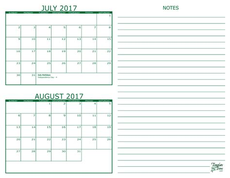 calendar template for june july august 2017 2 month calendar 2017