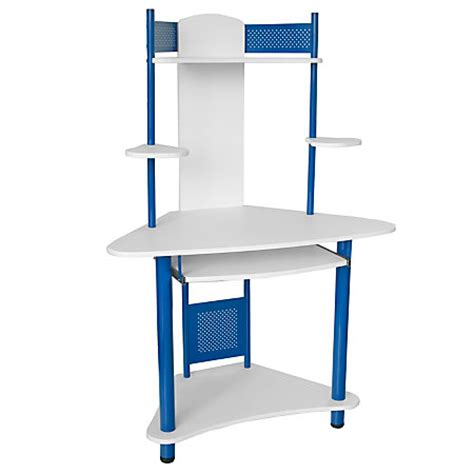 flash furniture corner computer desk with hutch 57 h x 39 w x 24 d blue by office depot officemax