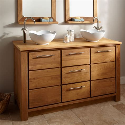hickory wood vanity cabinet and white vessel sink plus 2 floating wooden medicine