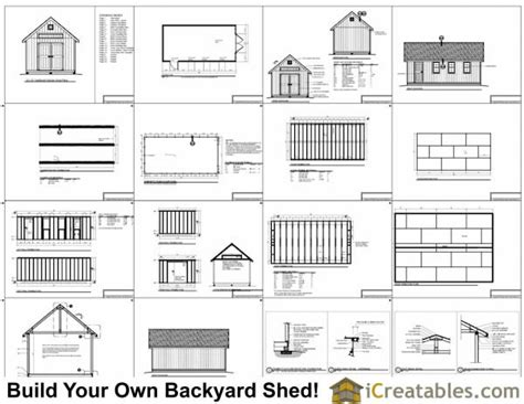 12x24 Barn Shed Plans by 12x24 Traditional Backyard Shed Plans