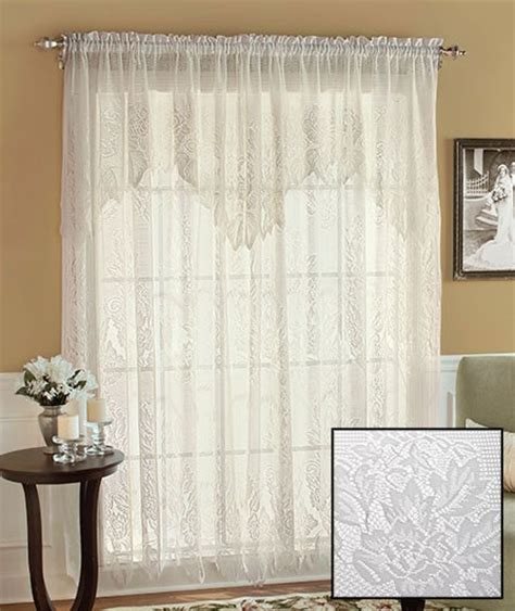 new lace curtains with attached valance 60 quot x 63 quot white