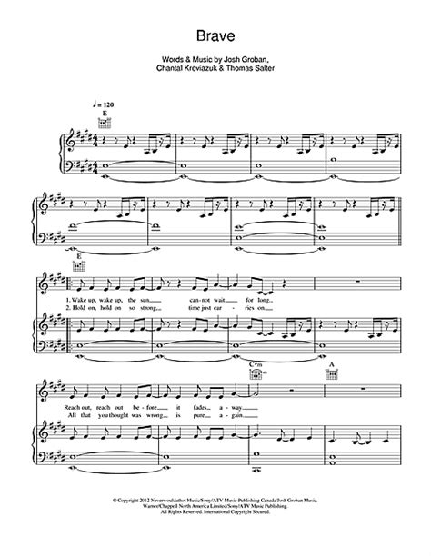 brave sheet by josh groban piano vocal guitar right melody 115888