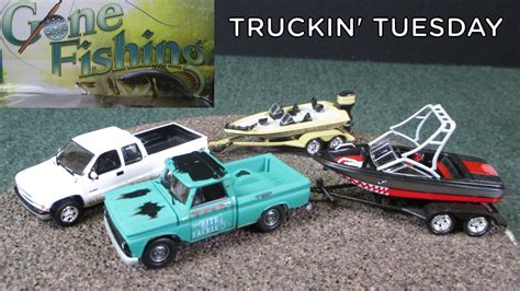 Toy Boat And Trailer Set by Truckin Tuesday Gone Fishing 3 Piece Sets With Boats And