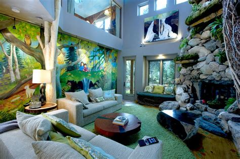 jungle themed living room adorning house with nuance