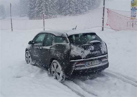 An Electric Car In The Snow