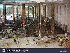 Construction of a reinforced concrete basement floor slab ...