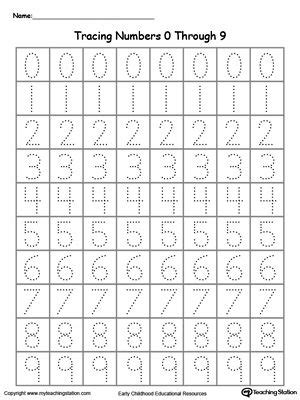 Tracing Numbers 0 Through 9  Classroom Ideas  Pinterest  Number Tracing, Worksheets And Number