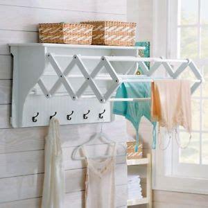 Laundry Room Wall Mount Clothing Drying Rack Hanger Shelf