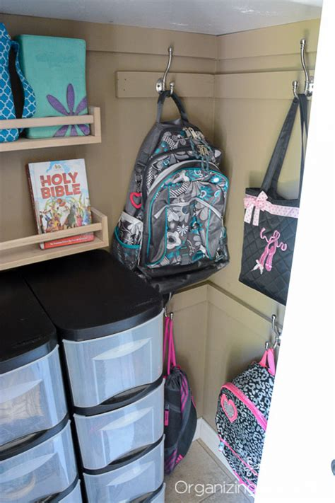 backpack hooks for home a neat and tidy entry closet just a and