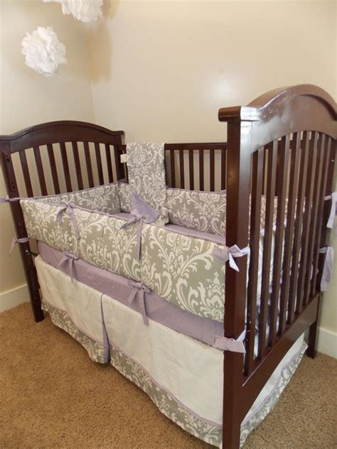 Lavender And Grey Bedding by Custom Owl Purple Lavender Yellow Grey Crib Bedding