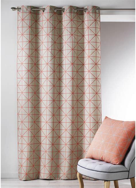 rideau en toile de coton aux imprim 233 s design corail noir turquoise jaune homemaison