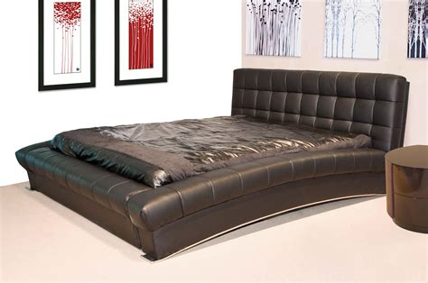 tufted platform bed king mid century modern king bed wall mounted rectangle brown white wooden