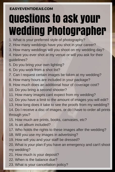 What To Ask Your Wedding Photographer  Easy Event Ideas. Wedding Advice Nz. Planning A Wedding Nyc. Wedding Invitation Etiquette Formal Attire. Wedding Destinations Victoria Bc. Embossed Wedding Invitations Sydney. Wedding Photo Studio In Miri. Wedding Dress Shops Huntsville Al. The Wedding March Piano
