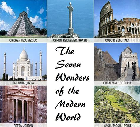 the seven wonders of the modern world various places and things