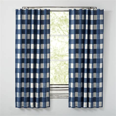 84 quot buffalo check blue blackout curtains the land of nod