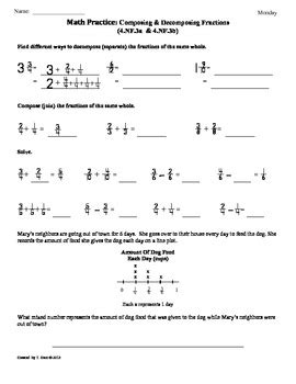 (4nf3a&b)composing And Decomposing Fractions4th Grade Math Worksheets