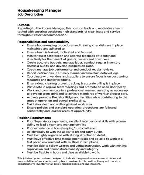 8+ Housekeeping Job Description Samples  Sample Templates