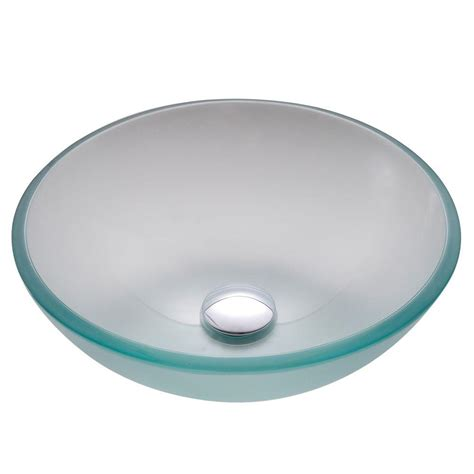 kraus 14 in glass vessel sink in frosted with pop up drain and mounting ring in chrome gv 101fr
