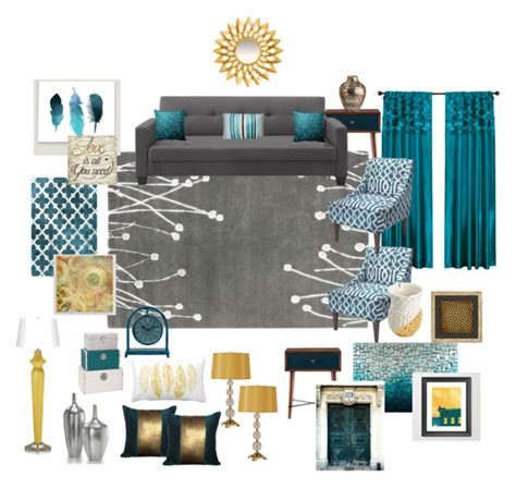quot teal grey gold living room quot by ealfaro814 on polyvore featuring interior interiors interior