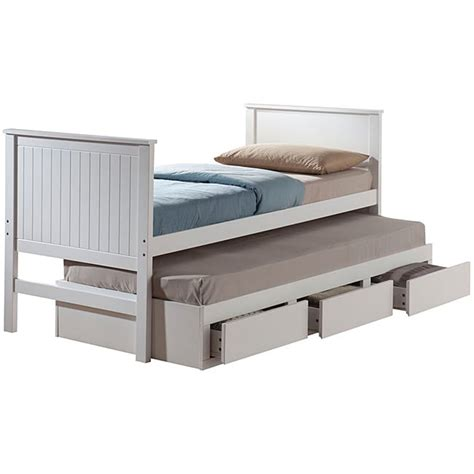 bungalow white finish size captain bed with trundle 14334968 overstock shopping