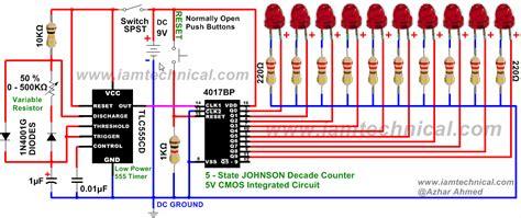 555 Timer Clocks Cmos 4017bp Johnson Decade Counter With