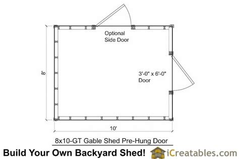 8x10 delux shed plans storage shed plans garden shed