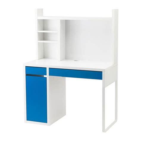 ikea micke poste de travail blanc bleu blanc vous pouvez faire place nette sur votre