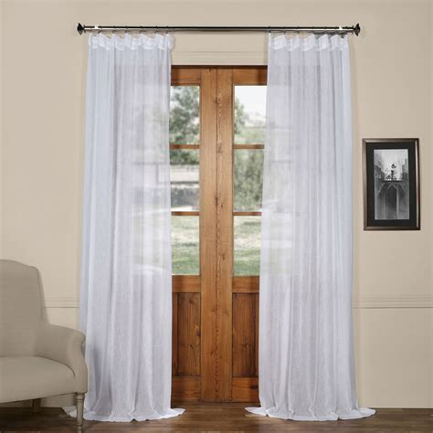 aspen white solid faux linen 50 x 120 inch sheer curtain half price drapes panels panel