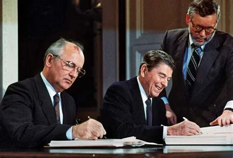 gorbachev mikhail gorbachev and signing the intermediate range nuclear forces treaty