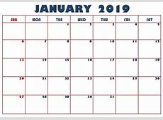 January Blank Calendar Template 2019 June 2018 Calendar