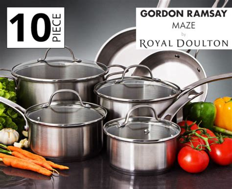 gordon ramsay by royal doulton maze 10 pc cookware set catchoftheday au