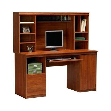 58 quot wood computer desk with hutch in expert plum 9112083st