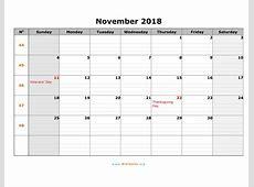 November 2018 Calendar With Holidays calendar 2017 printable