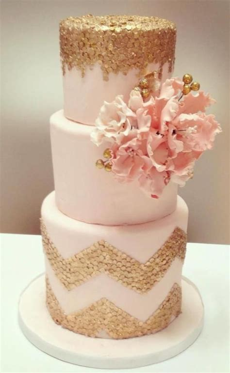 pink and gold cake light pink three tiered cake with edible gold confetti
