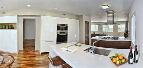 Midcentury Modern Open Concept Kitchen, Dining Room And